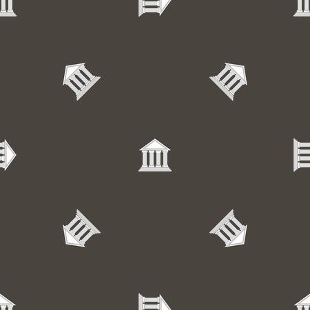 acropolis: Greek Temple Icon Seamless Pattern on Grey Background.