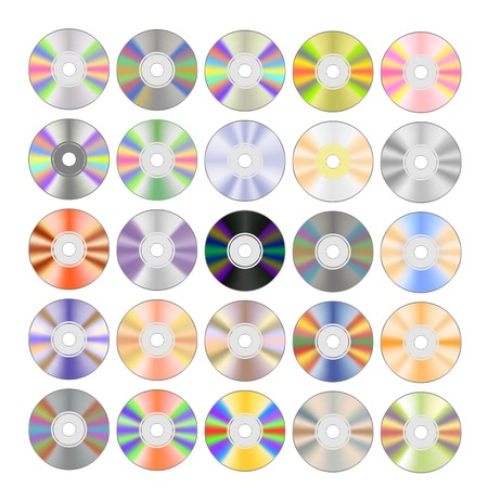 discs: Set of Colorful Different Compact Discs Isolated on White Background