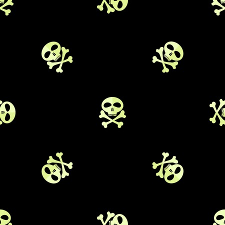 skull and cross bones: Skull Cross Bones Seamless Pattern. Skull Isolated on Black