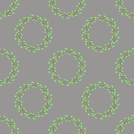 linden tree: Summer Green Leaves Isolated on Grey Background. Seamless Leaves Pattern