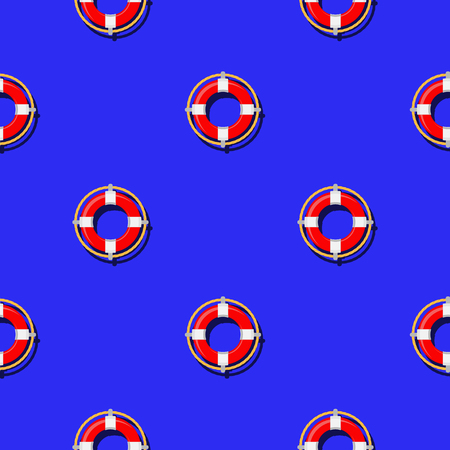 lifebelt: Lifebuoy Icon Nautical Pattern on Blue. Lifequard Symmetric Background Illustration