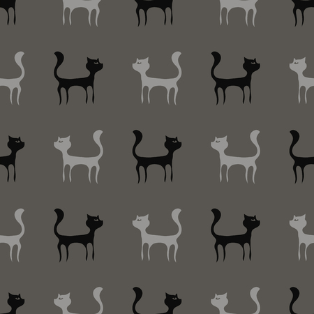 pussy hair: Black Grey Cats Seamless Pattern. Animal Pets Silhouettes Background. Stock Photo
