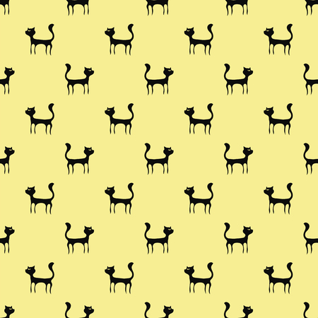 pussy hair: Black Cats Seamless Pattern. Animal Pets Silhouettes Background.