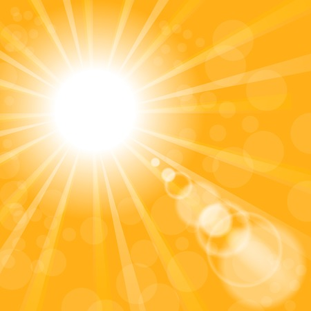 blinding: Abstract Sun Background. Yellow Summer Pattern. Bright Background with Sunshine. SunBurst with Flare and Lens. Stock Photo