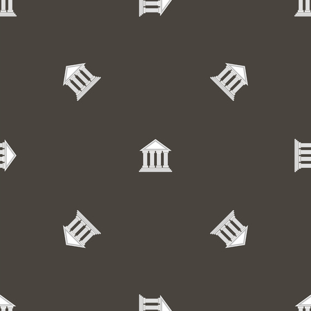 hellenic: Greek Temple Icon Seamless Pattern on Grey Background.