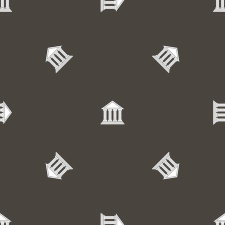 templo griego: Templo griego icono del patrón sin fisuras en el fondo gris.
