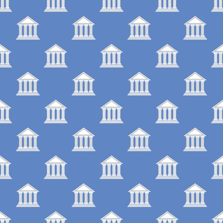 hellenic: Greek Temple Icon Seamless Pattern on Blue Background. Stock Photo