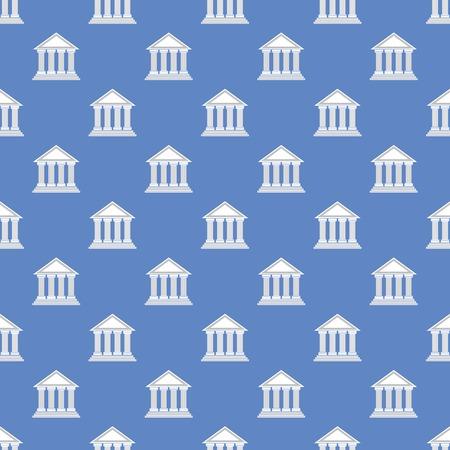 templo griego: Icono templo griego Patrón sin fisuras en el fondo azul. Foto de archivo
