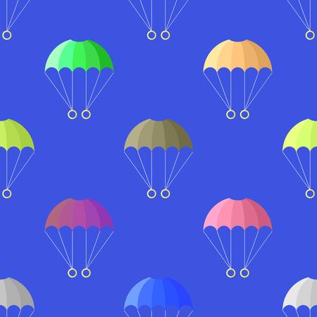 Parachute Seamless Pattern on Blue Sky. Extreme Sport Background. Illustration