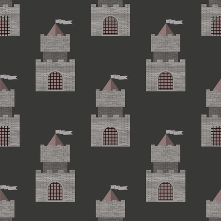turret: Brick Castle Seamless Pattern on Grey. Retro Tower Background.