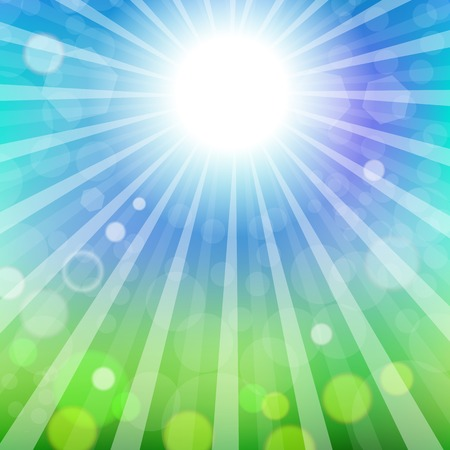 Abstract Sun Background. Blue Summer Pattern. Bright Background with Sunshine. SunBurst with Flare and Lens.
