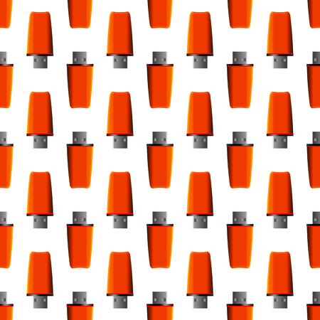 microdrive: Memory Stick Seamless Pattern on White. Flash Computer Device Illustration