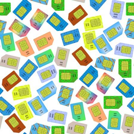 cdma: SIM Cards Seamless Pattern on White Background.