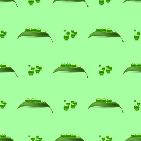 unbuttoned: Fresh Natural Green Peas Seamless Pattern Isolated on Green