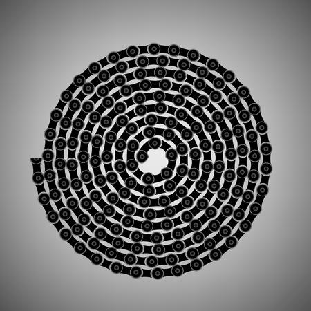 bike chain: Bike Chain Spiral Isolated on Grey Background Illustration