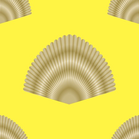 grooved: Exotic Seashell Seamless Pattern on Yellow Background