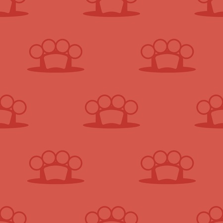 knuckles: Metal Knuckles Silhouette Seamless Pattern on Red.