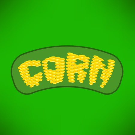 Yellow Corn Isolated on Green Background. Corn Letters