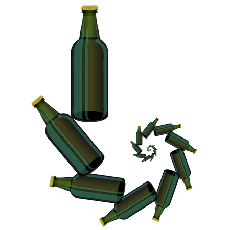 intoxicating: Green Glass Beer Bottles Isolated on White Background.
