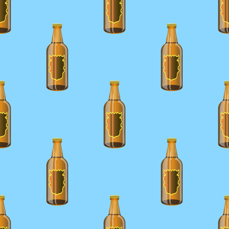 intoxicating: Brown Glass Beer Bottles Seamless Pattern on Blue Background.