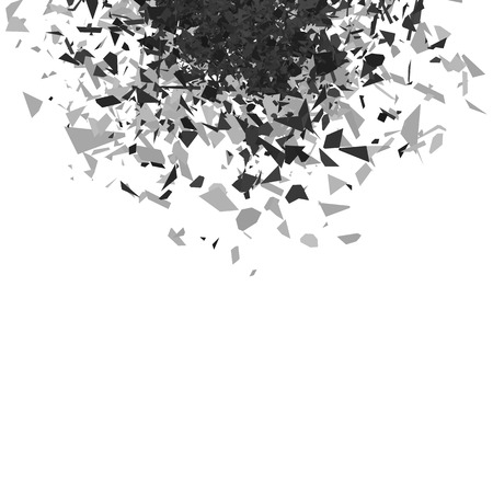 Explosion Cloud of Grey Pieces on White Background. Sharp Particles Randomly Fly in the Air. 向量圖像