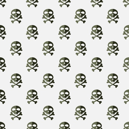 sceleton: Skull Cross Bones Seamless Pattern. Skull Isolated on White