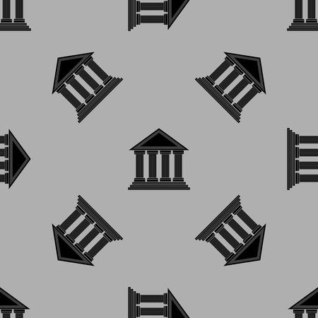 archeology: Greek Temple Icon Seamless Pattern on Grey Background.