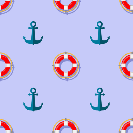 diving save: Lifebuoy and Anchor Icons Nautical Pattern on Blue. Lifequard Symmetric Background Stock Photo