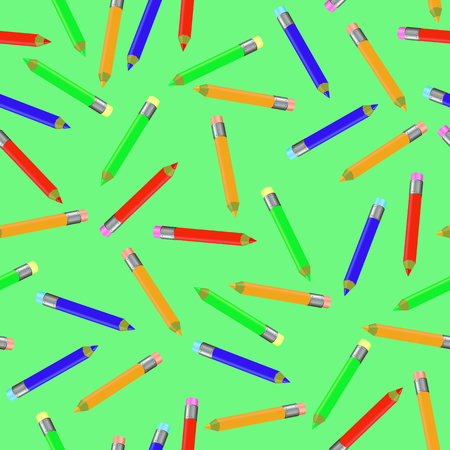sharpened: Seamless Pencil Pattern on Green. Set of Colorful Sharpened Pencils for Drawing. Randomly Scattered School Accessories.