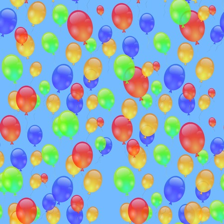 Colorful Air Balloons Seamless Pattern Isolated on Blue. Stock Photo