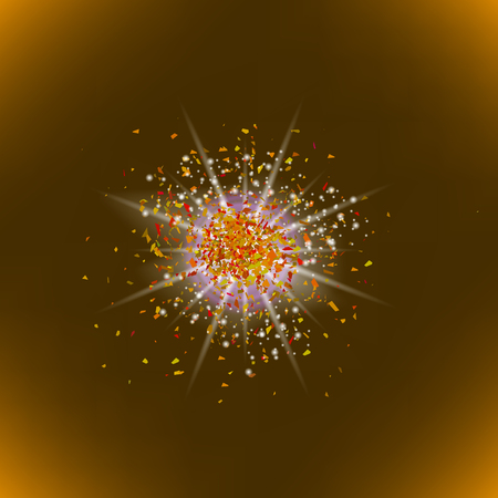 outburst: Sparkling Texture. Star Flash. Glitter Particles Pattern. Explosion on Brown Background. Star Dust. Stock Photo