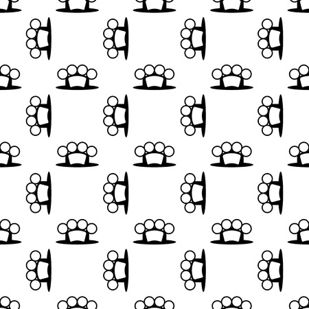 knuckles: Metal Knuckles Silhouette Seamless Pattern on White.