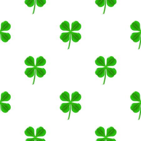 Green Clover Seamless Pattern on White. Shamrock Background Illustration