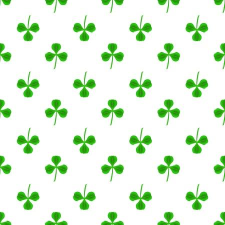 shamrock seamless: Green Clover Seamless Pattern on White. Shamrock Background Illustration