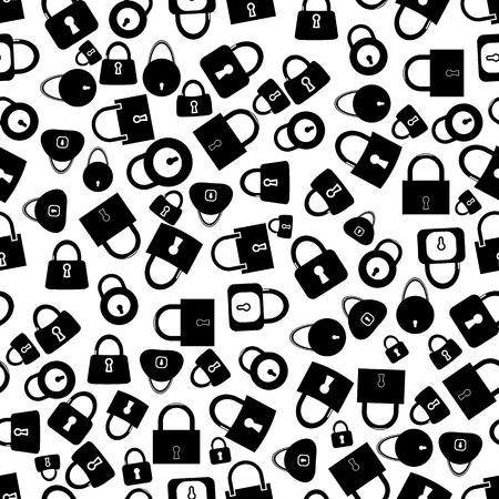 lockout: Set of Locks Silhouettes Seamless Pattern on White Background Illustration