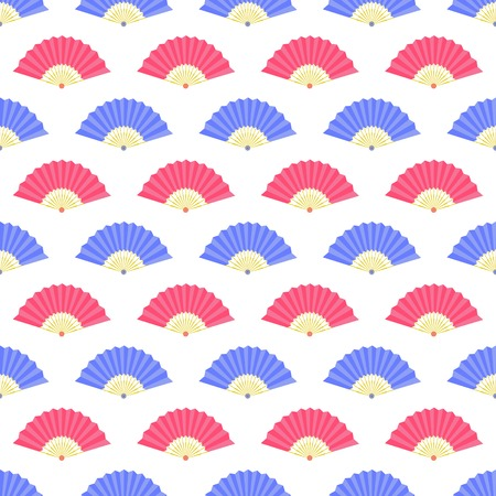 red and blue: Red Blue Fan Seamless Pattern on White