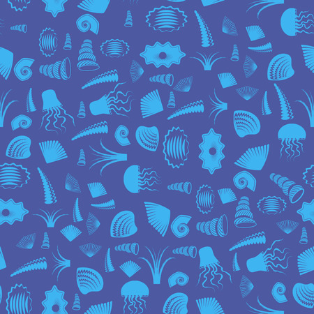 saltwater pearl: Sea Shell Silhouette Seamless Pattern on Blue. Jellyfish Background