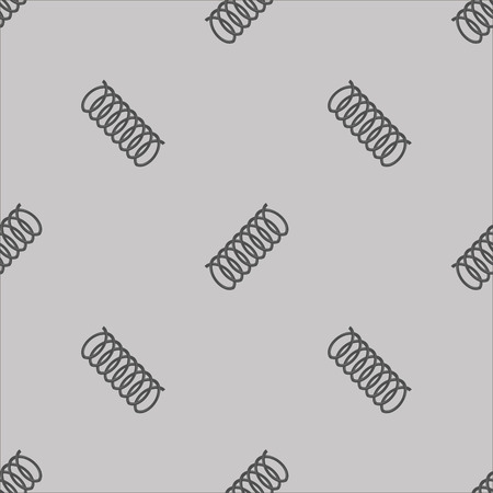 coil spring: Metal Grey Spring Seamless Pattern on White Background