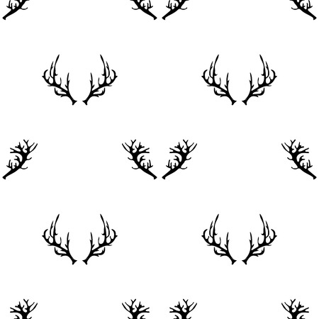 horny: Different Horns Seamless Pattern on White Background