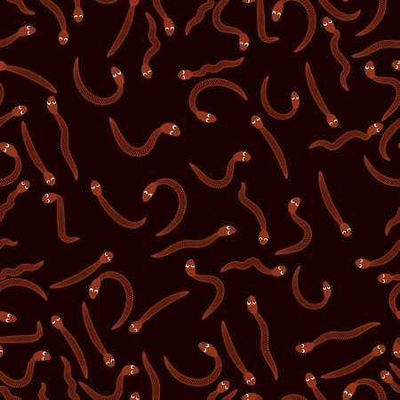 earthworm: Red Worms for Fishing Seamless Pattern on Black. Animal Bloodworms Background.