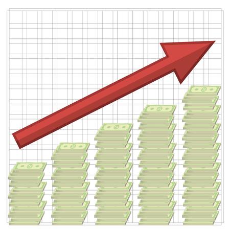 Croissance de Dollars. Billets américains. Argent liquide. Monnaie américaine Vecteurs