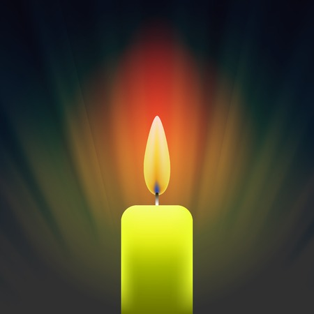 Burning Single Yellow Candle on Dark Wave Background.