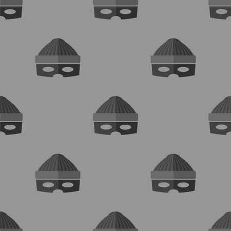 plunderer: Thief Icon Seamless Pattern on Grey Background Illustration