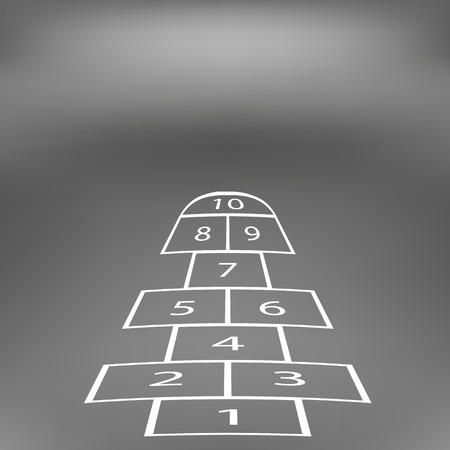 Hopscotch Game Isolated on Abstract Soft Grey Background. Stock Photo