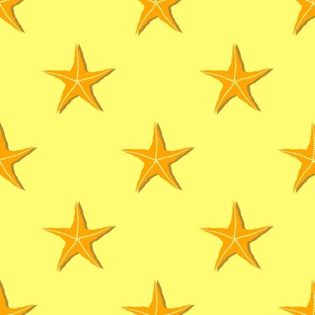 seafish: Exotic Seafish Seamless Pattern on Yellow Background