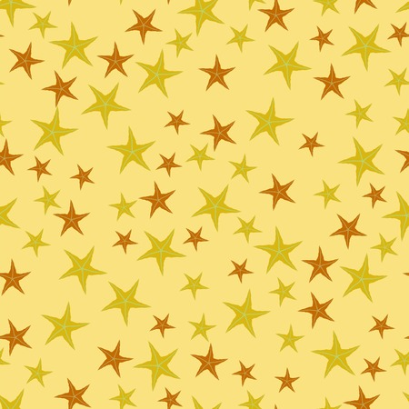 starlike: Exotic Seafish Seamless Pattern on Yellow Background