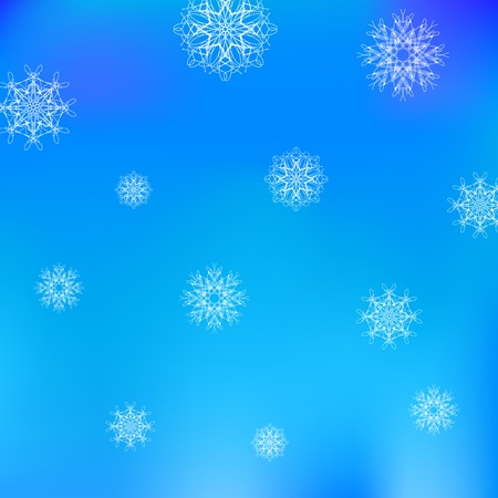 White Snowflake Pattern on Blue. Christmas Blurred Background