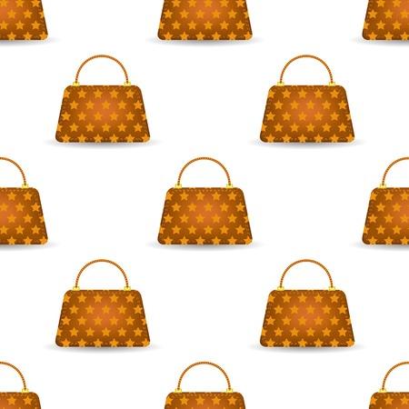Seamless Womens Orange Handbag Pattern on White Background.