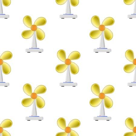 blades: Fan with Orange Blades Seamless Pattern on White Background Stock Photo