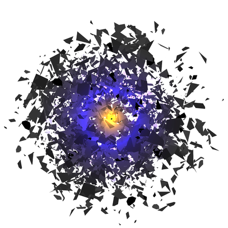 Explosion Cloud of Grey Pieces on White Background. Sharp Particles Randomly Fly in the Air. Stock Photo